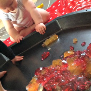 sensory jelly play in a tuff spot