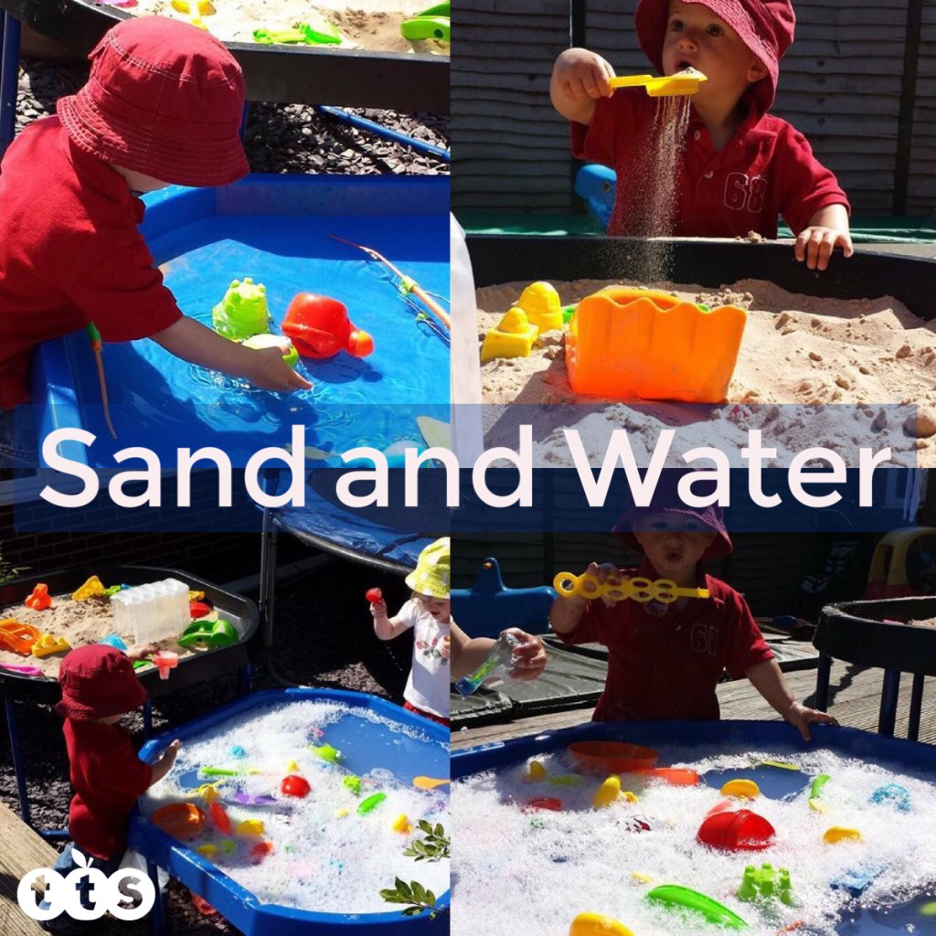 sand and water play in a tuff spot outdoors