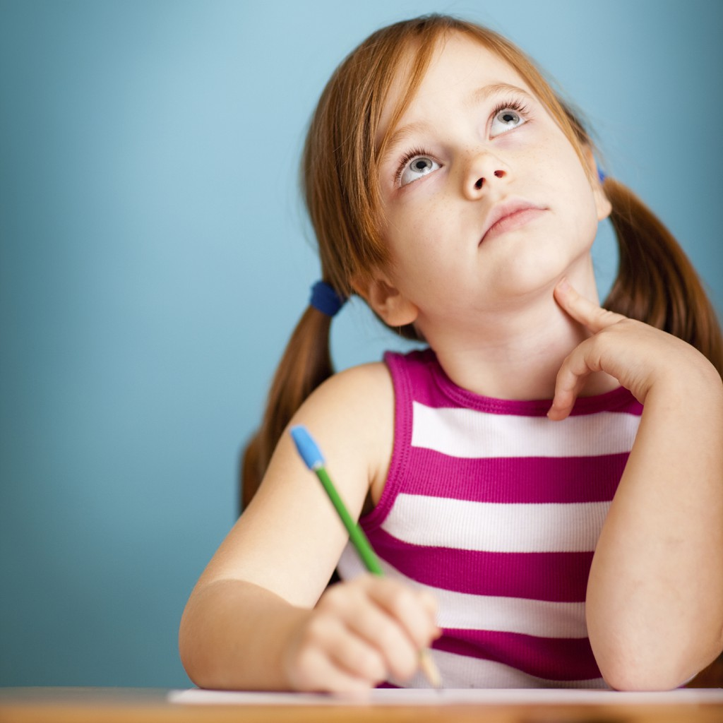child in thought - writing