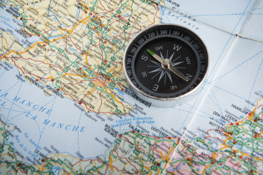 Geography map and compass
