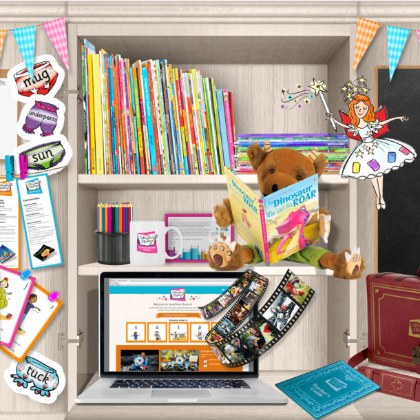 Cupboard with resources for Storytime Phonics