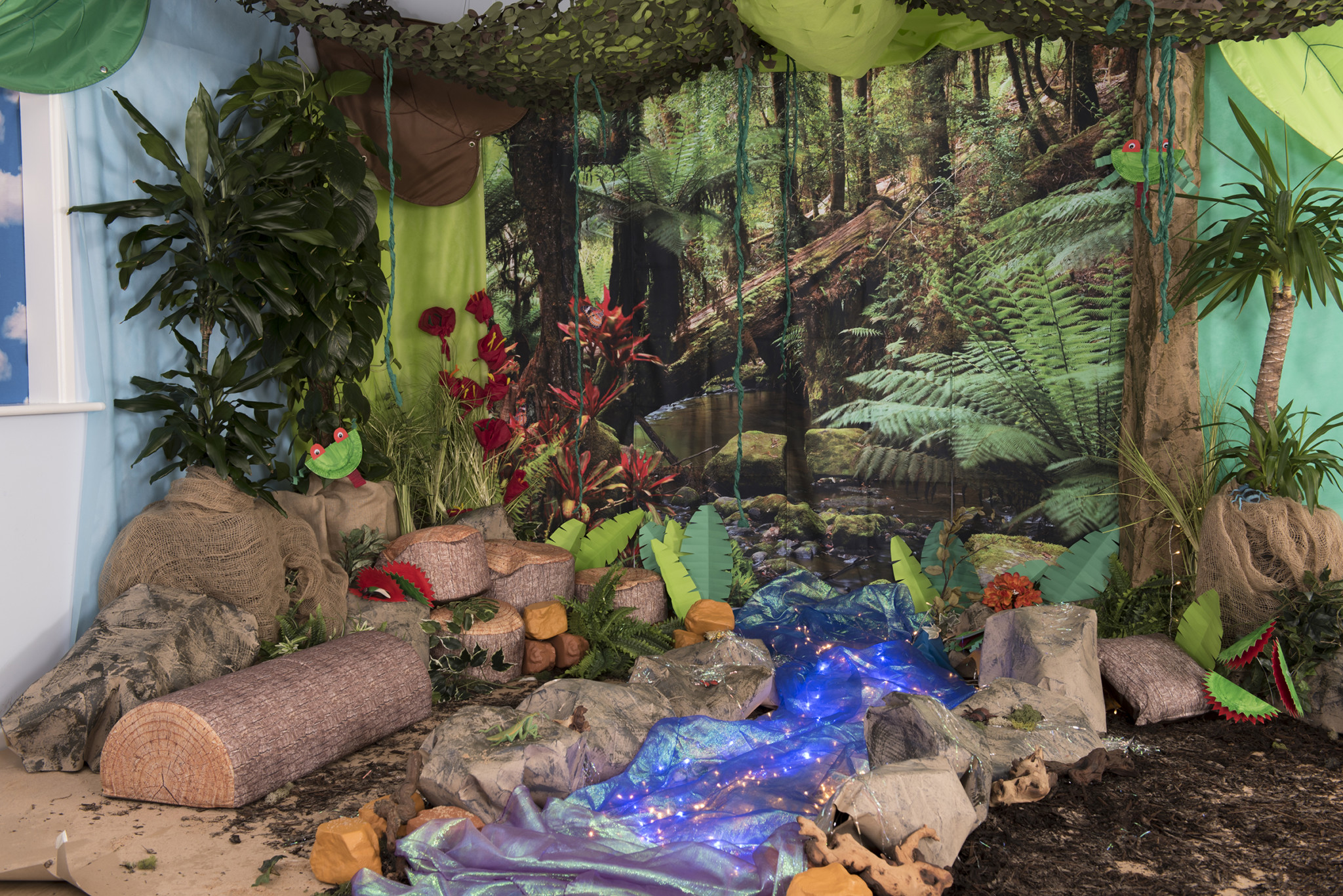Rainforest backdrop immersive environment