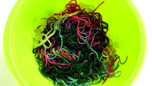 Rainbow spaghetti halloween recipe
