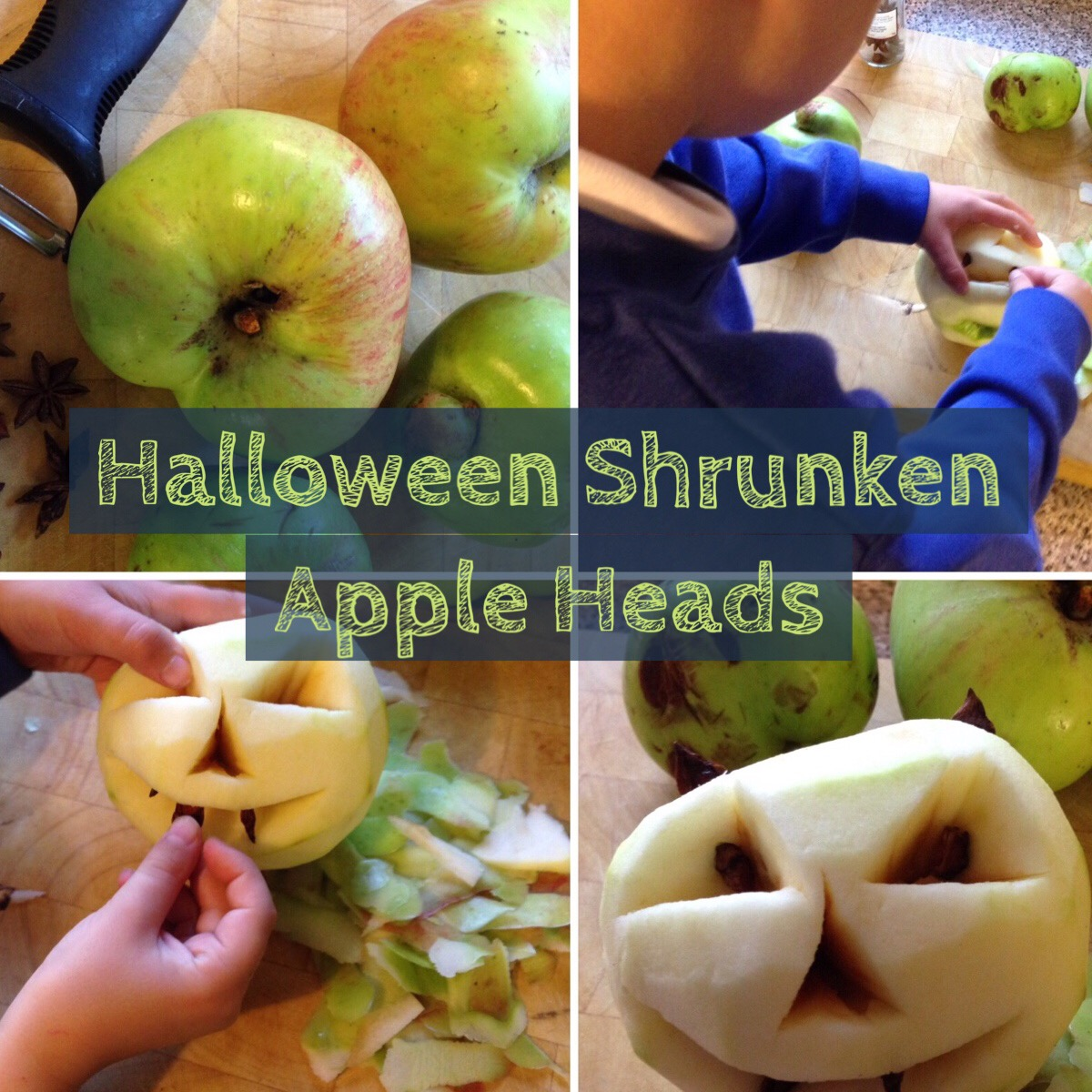 how to make shrunken apple heads for halloween by Lottie Makes