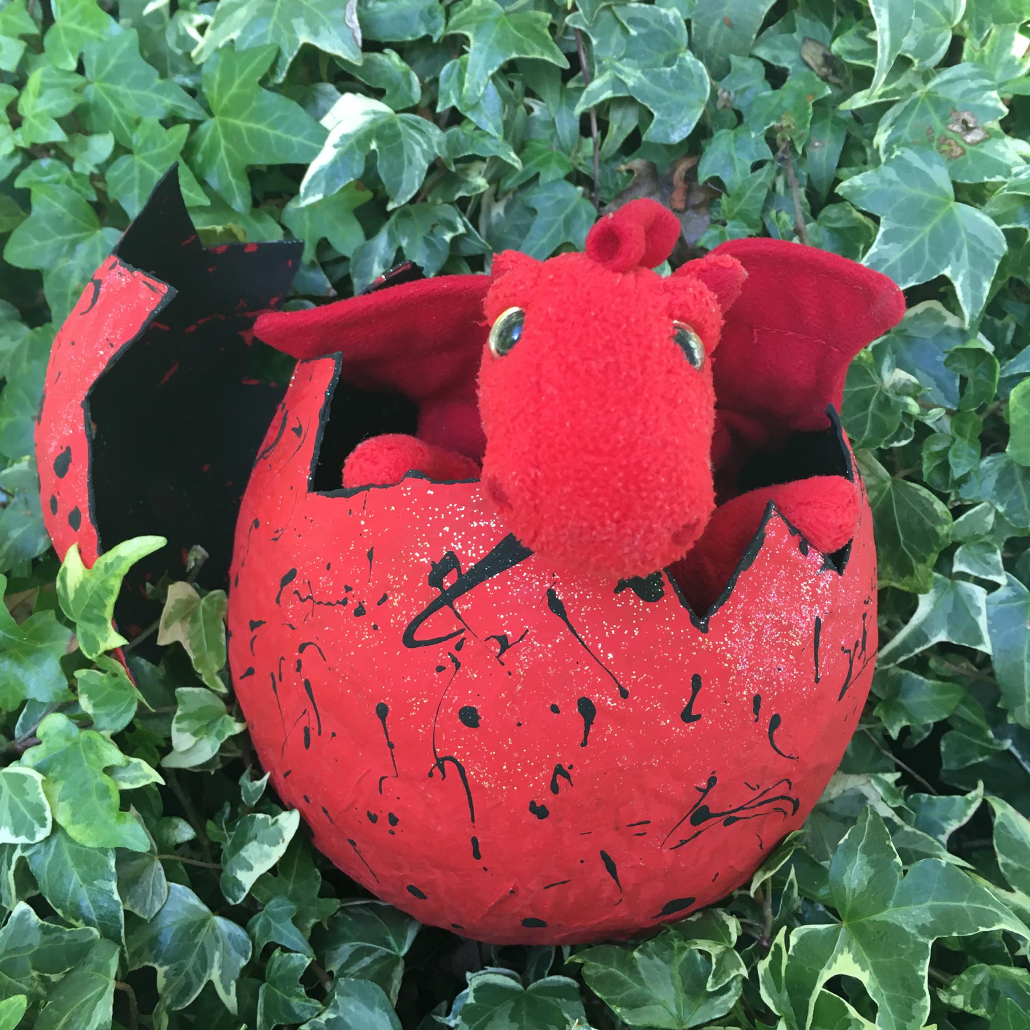papier mache egg - dragon