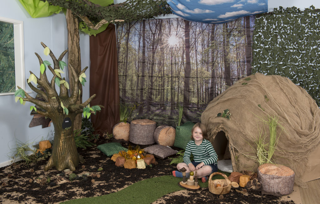 Woodland cave learning location display idea