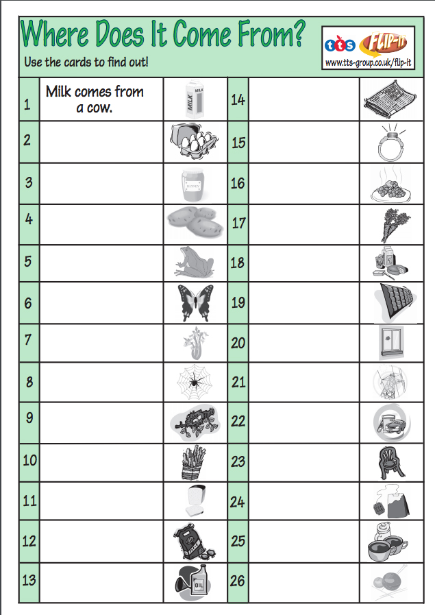 Where does it come from worksheet copy