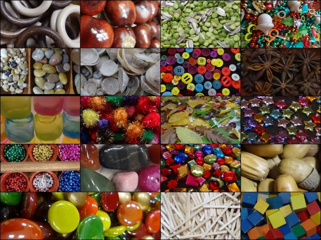 4. Selection of loose parts for transient art - from Stimulating Learning with Rachel