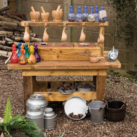 Create powerful learning provocations with Outdoor Wooden Messy Concoctions Bench