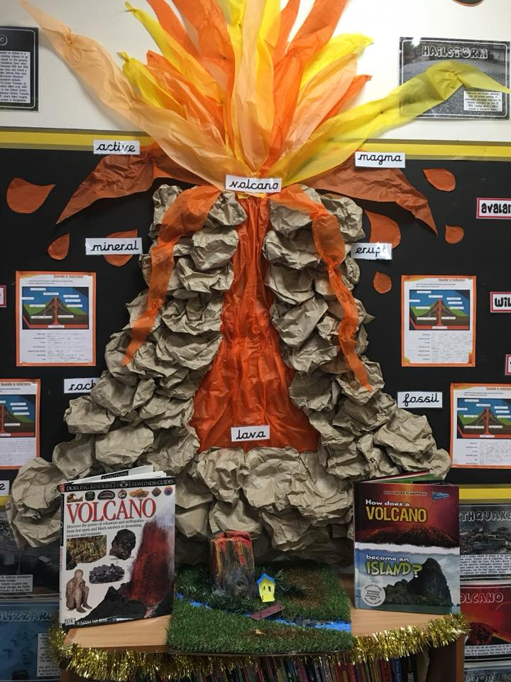 classroom display ideas - volcano