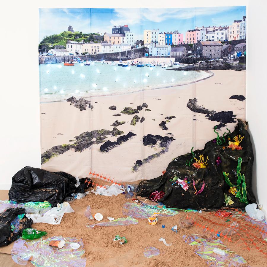 seaside plastic environment display