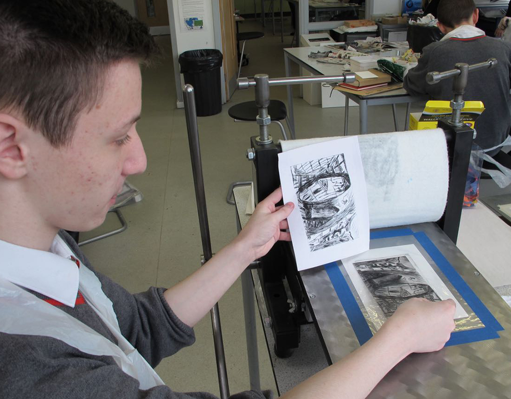 Art and Printmaking with boys at KS4 and KS5