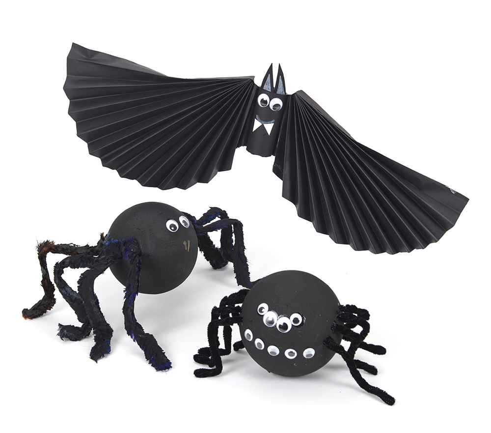 Halloween spider and bat - craft activities for children