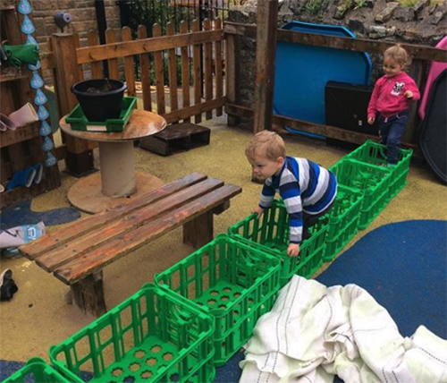 outdoor play with crates