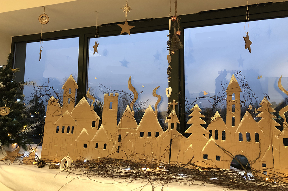 Recycled cardboard box Christmas village scene display by Lottie Makes