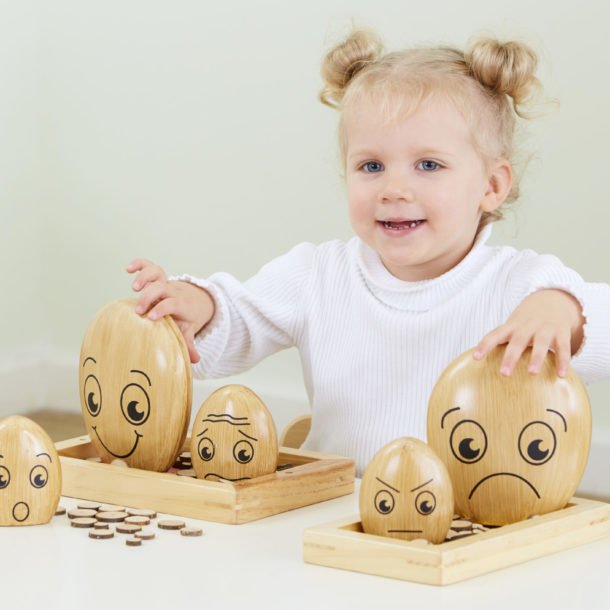 Wooden emotional pebbles to support emotional health and well-being