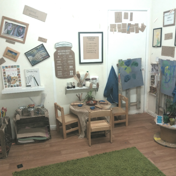 Art area of a nursery