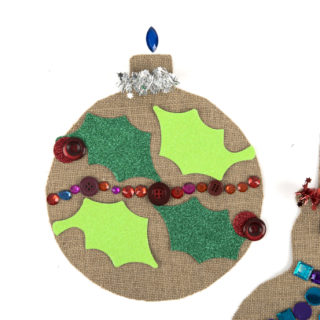 Hessian, decorated snowman and bauble
