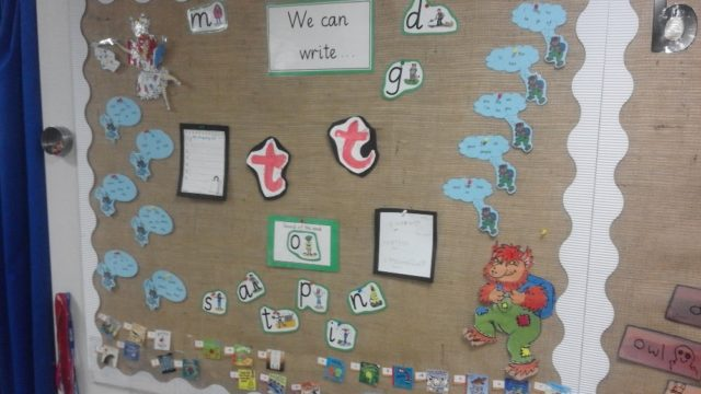 School display board with Storytime Phonics work.